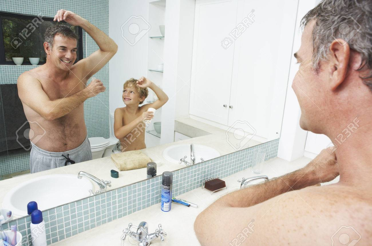 Dad and son shower
