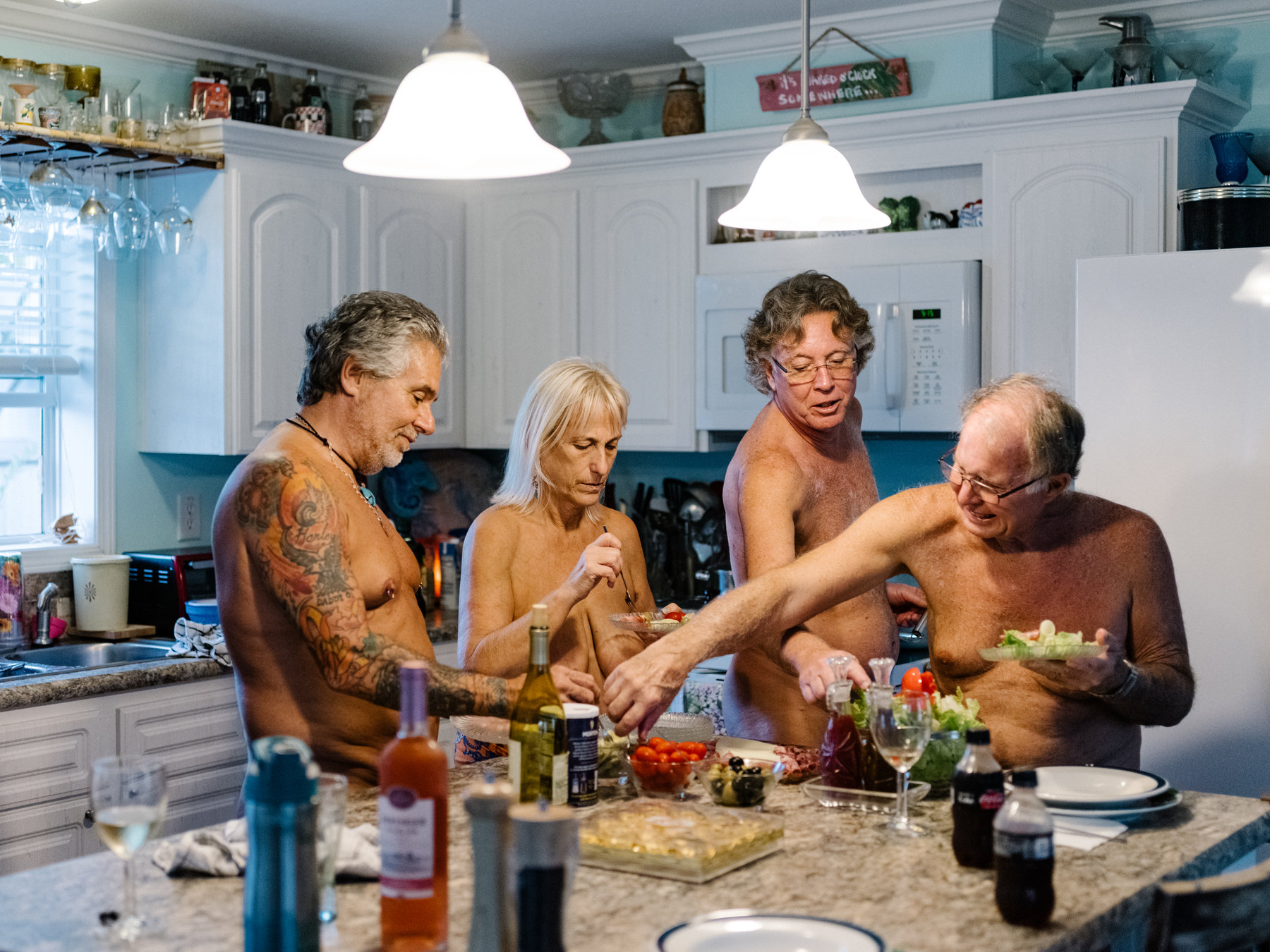 Families naked at home